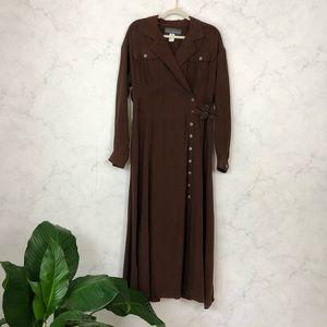 Vintage 90s Long Sleeve Button Up Maxi Shirt Dress